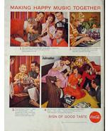 1956 COKE COCA-COLA VINTAGE PRINT AD! 1950'S PARTY MUSIC THEME ADVERTISE... - $9.74