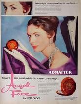 1958 Ponds Angel Face Make-up Ad 24K Gold design Vintage Advertisement! - $4.99