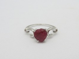 Vintage Sterling Silver Heart cut Genuine Ruby Ring Size 7.75 - $40.00