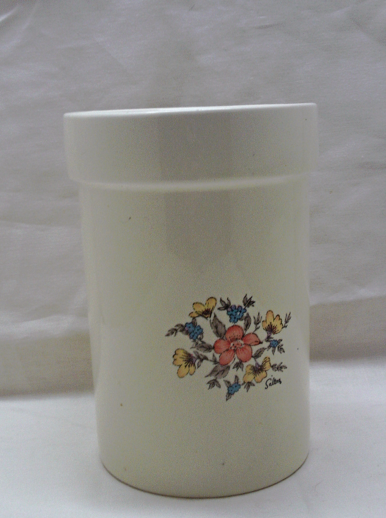 Vintage Floral Design SALTERA  Stoneware Utensil Crock // Decorative Kitchenware