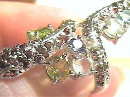 RING 5.5 peridot amethyst garnet citrine MULTI snake REAL natural STERLI... - £45.60 GBP