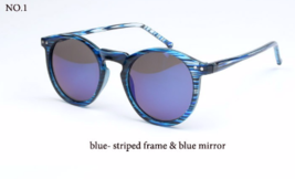 Fashion Multicolour Mercury Mirror Unisex Sunglasses (Blue-Stripped Frame). - $6.88