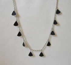 Black Triangle Drop Long Necklace Textured Silver Metal Chain Faux Snake... - $24.00