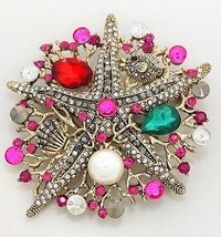 Unique 2 in 1 Multi Color Metal Art Starfish Pearl Coral Reef Brooch N Pendant! - $15.87