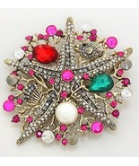 Unique 2 in 1 Multi Color Metal Art Starfish Pearl Coral Reef Brooch N P... - $15.87