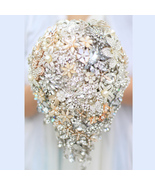 Bride 's Drop Brooch bouquet DIY Wedding silver Gold Jewelry bridal bouq... - $358.00