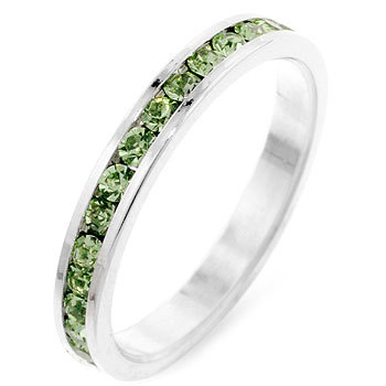 Primary image for Peridot CZ White Gold Plated Channel Set Stackable Eternity Band Ring Size 8