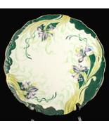 Antik Kunst Nouveau Eleanor China Handbemalt Schrank Platte Grün Lila Iris - $93.74