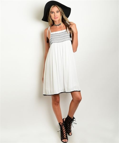Primary image for Women's Spaghetti Strap Dress White w/ Embroidered Bodice and Crochet Trim Sz-S