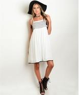 Women's Spaghetti Strap Dress White w/ Embroidered Bodice and Crochet Tr... - $23.36