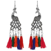 Indian Oxidized Silver Peacock Multi-Color Thread Fashion Jewelry Earrings - $9.41