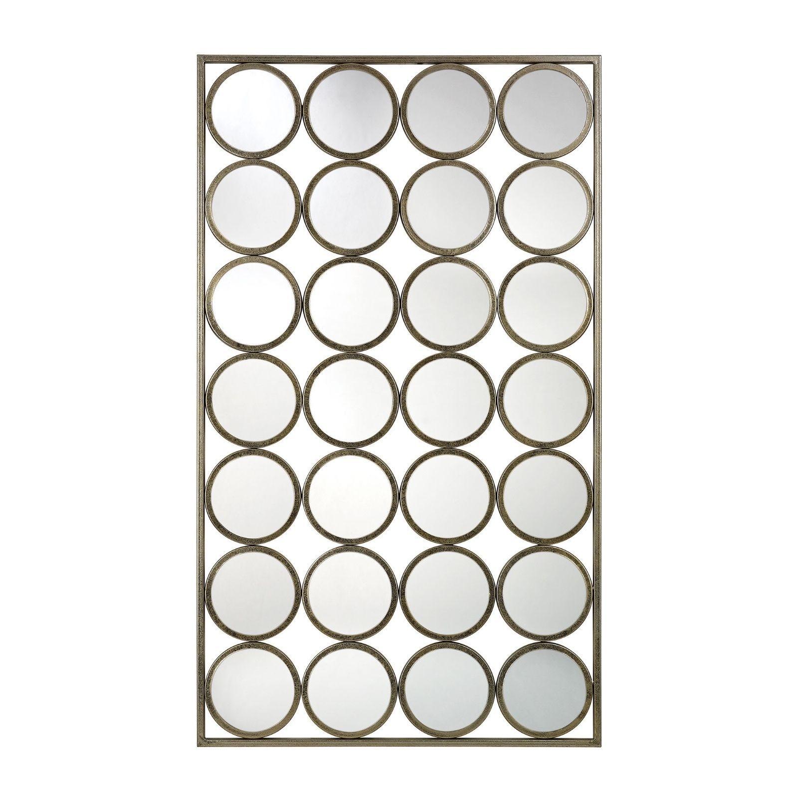 Mid Century Modern Retro Circles Circular Soft Gold Large Rectangle Wall Mirror