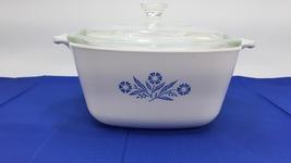 Vintage Corning Ware Blue Cornflower 1¾Qt.  P-1 ¾-B 1960s with Glass lid 32 P-7- - $59.99