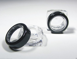 Square Cosmetic Jars Black Acryic Lid 50 Thick Wall Containers 5 Gram 5 ml #3039 image 3
