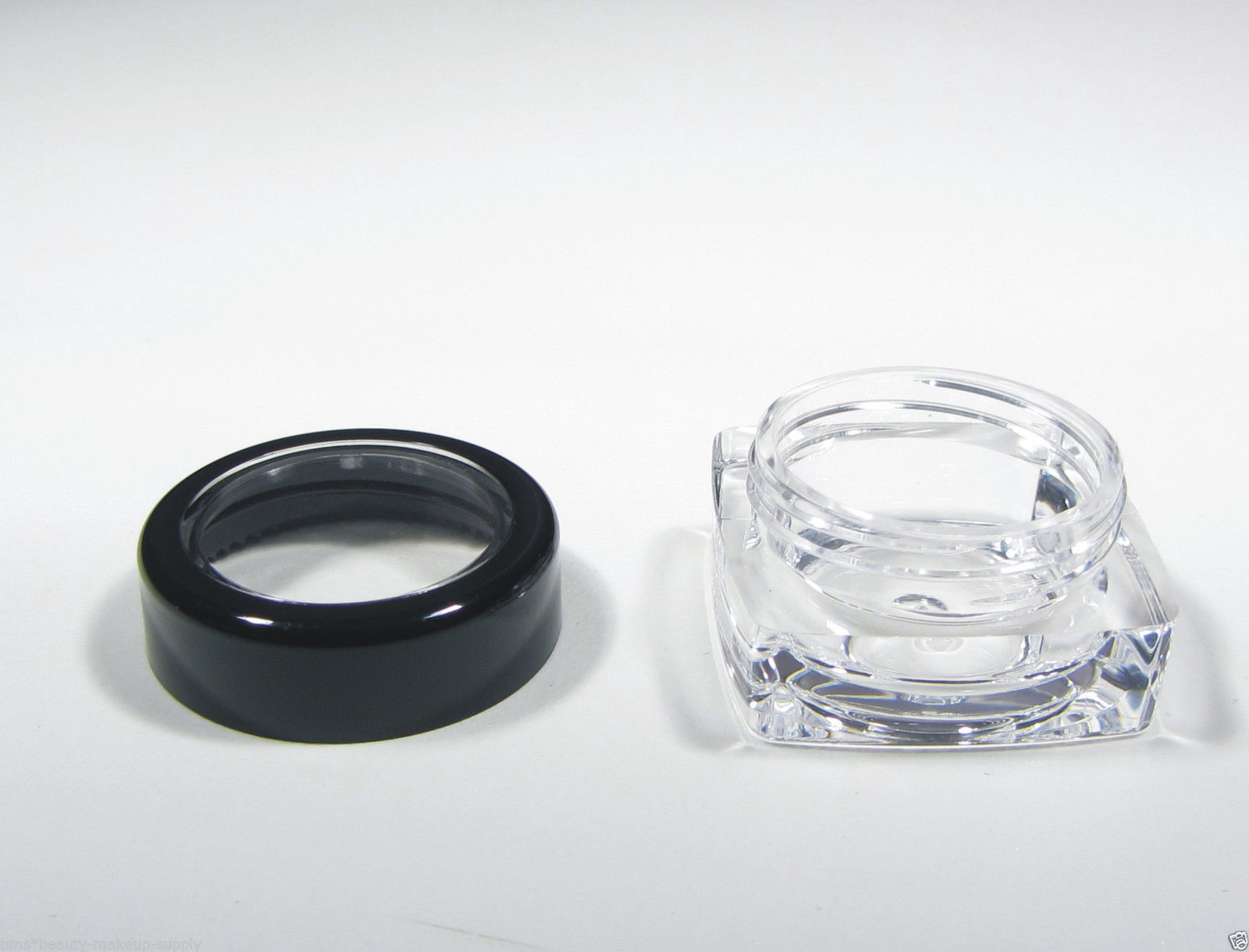 Square Cosmetic Jars Black Acryic Lid 50 Thick Wall Containers 5 Gram 5 ml #3039 image 7