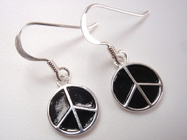 Silver and Black PEACE Sign Dangle Earrings 925 Sterling Corona Sun Jewelry - $7.91
