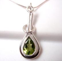 Faceted Peridot Pendant Teardrop 925 Sterling Silver Pear Shaped Halo Ho... - $464,53 MXN