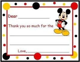 Mickey Mouse FILL IN ~ Custom Thank You or Note Cards - $10.39
