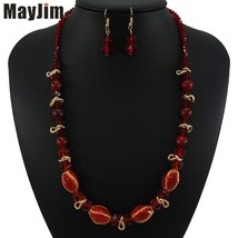 New Vintage crystal Colored glaze red Necklace jewelry sets ceramics bea... - $14.29