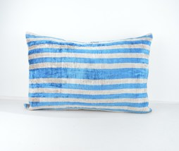 ethnic cushion 16x24 lumbar Silk Velvet Pillow,velvet lumbar pillows,ika... - $49.90