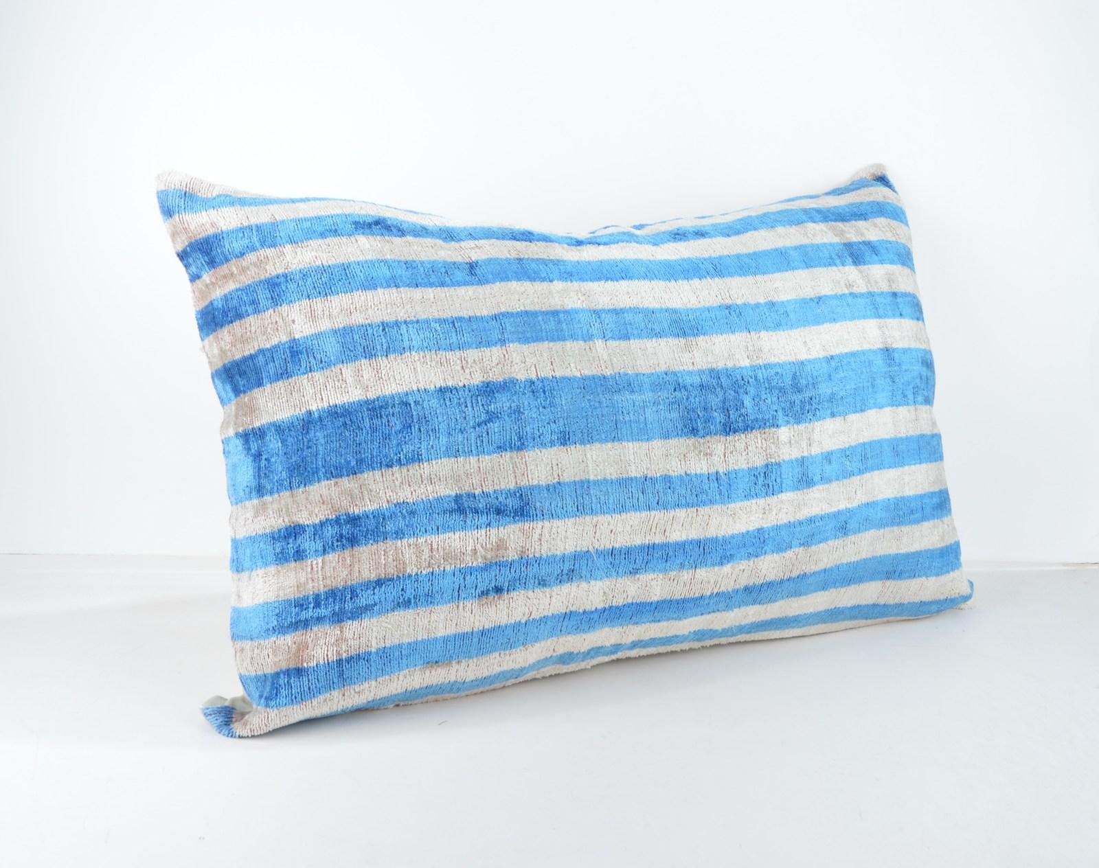 ethnic cushion 16x24 lumbar Silk Velvet Pillow,velvet lumbar pillows,ikat sham