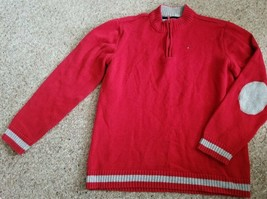 TOMMY HILFIGER Heavy Red Sweater Elbow Patches Boys Size 20 - $6.79