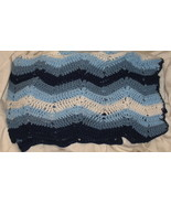 Large Vintage Hand Crocheted Blues Chevron Afghan - $85.00