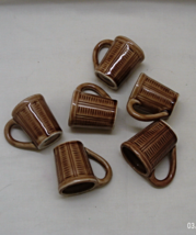 Vintage Set of Six Ceramic Cup Shaped Shot Glasses // Made in Japan // Barware - $13.00