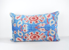 blue cushion 16x24 lumbar Silk Velvet Pillow,velvet lumbar pillows,ikat ... - $49.90
