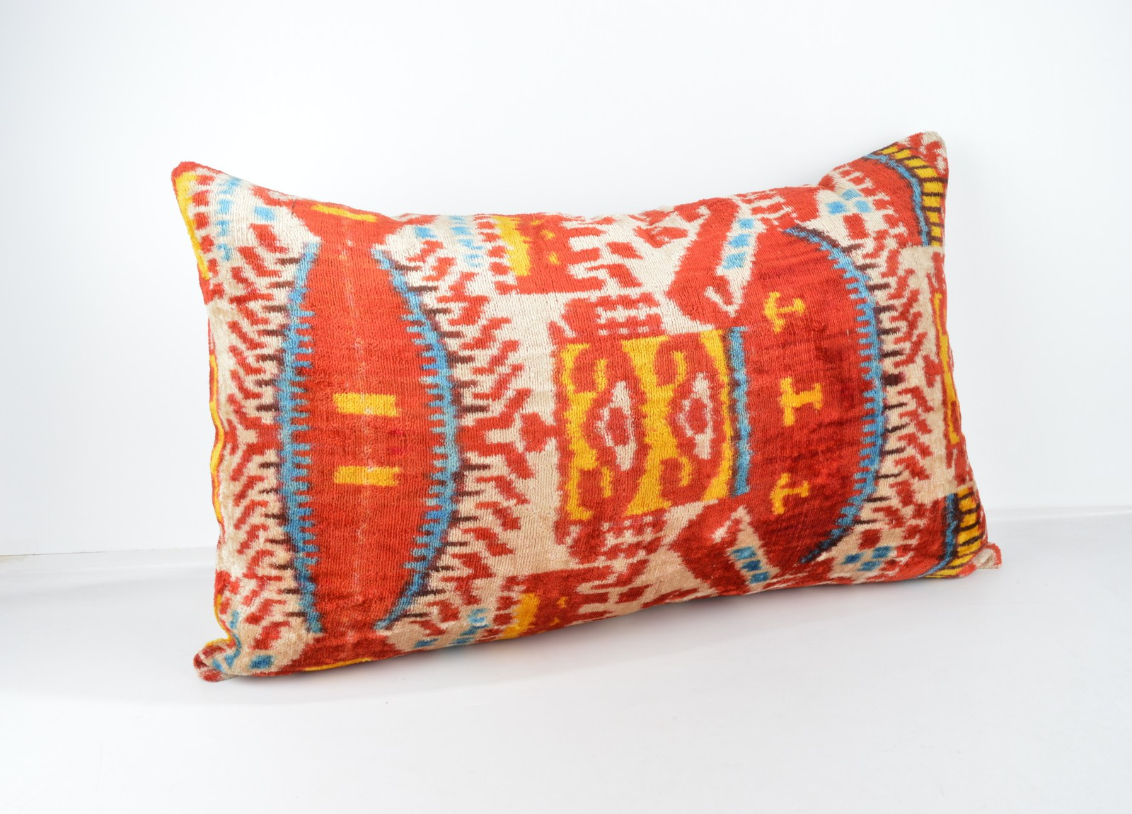 red lumbar cushion  16x24 lumbar Silk Velvet Pillow,velvet lumbar pillows,ikat s