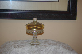 Rare Vintage Kings Crown Indiana Carnival Glass Compote with Lid Crystal... - $40.00