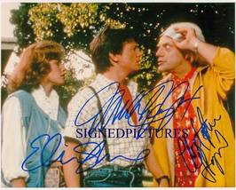 BACK TO THE FUTURE CAST AUTOGRAPHED 8X10 RP PHOTO MICHAEL J FOX LLOYD AN... - $17.99