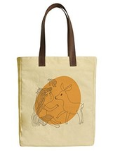 Vietsbay's Aries Sign Printed Canvas Tote Bags with Leather Handles WAS_30 - $21.59