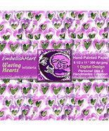 Hand-painted Paper 8 1/2 x 11 Jpeg 1 Design Purple Green  - $1.95