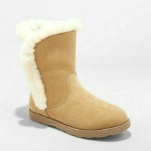 Cat & Jack Big Girls Tan Brown Microsuede Hadlee Faux Shearling Fur Winter Boots image 1