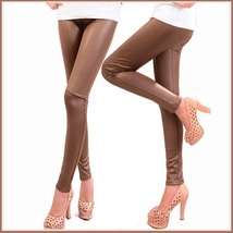 Spliced Brown or Black Faux Pleather Elastic Waist Skinny Stretch Pants Leggings