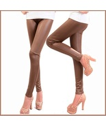 Spliced Brown or Black Faux Pleather Elastic Waist Skinny Stretch Pants ... - $38.95