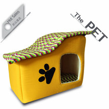 Pet Bed Dog Cat Puppy Small Warm Cozy House Soft Sponge with Zip Yellow ... - $29.63