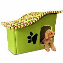 Pet Bed Dog Cat Puppy Small Warm Cozy House Soft Sponge with Zip Green S... - $29.63