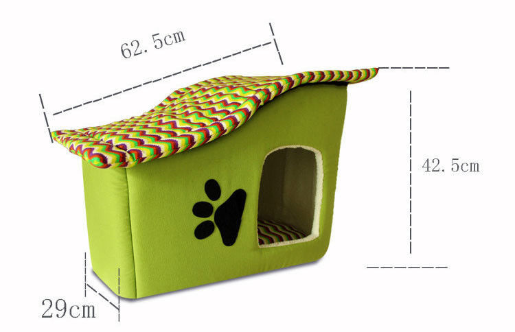 Pet Bed Dog Cat Puppy Small Warm Cozy House Soft Sponge with Zip Green Striped