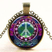 BEAUTIFULLY ILLUSTRATED  PEACE CABOCHON PENDANT - $3.99