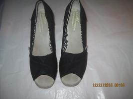 TOMS WOMEN'S BLACK CALYPSO CANVAS PEEP-TOE HIGH STRAW WEDGE SHOES, Sz. 6.5 - $55.00