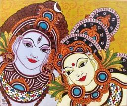 Kerala Mural Parvati Shiva Painting Handmade South Indian Hindu Ethnic D... - $274.99