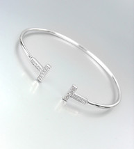 LUXURIOUS Thin Dainty 18kt White Gold Plated CZ Crystals T Tips Cuff Bracelet - $26.99