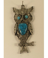 Silver Tone Owl Pendant with Blue Colored Stones - $4.50