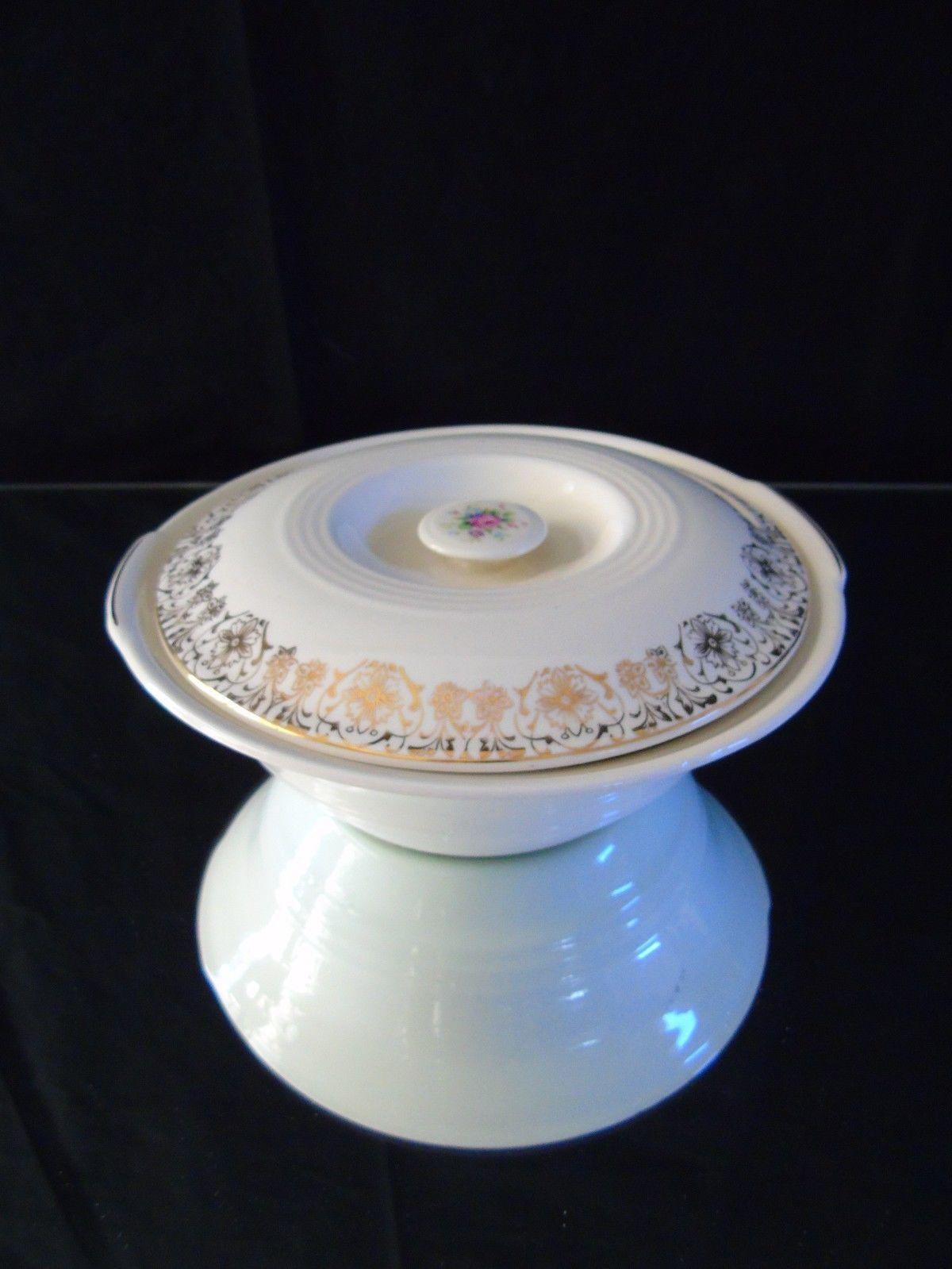 Rosalie Pattern Sebring Pottery USA Lidded Serving Vegetable Bowl 22K gold Trim