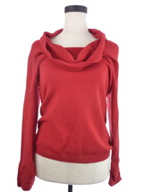 Womens L Alfani Red Cowl and Ruched Sleeves Sweater NWT - $24.99