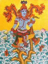 Kerala Mural Kaliya Mardanam Painting Handmade South Indian Hindu Krishn... - $424.99