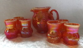 Gibson Glass Iridescent Orange 7-piece Pitcher and Cups Water/Juice Set ... - $54.99
