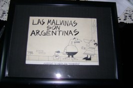 Argentine cartoonist drawing Faruk Original. Falkland Islands are Argen ... - $48.51